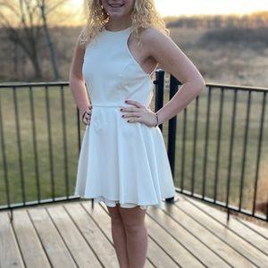 Halter Open Back White Lulus Homecoming Dress